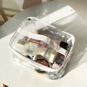 Прозрачная прямоугольная силиконовая косметичка Л p007-white (белая)