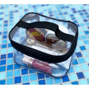 Набор прозрачных косметичек 2 шт p008-black (черные)