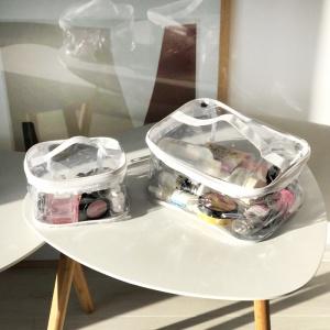Набор прозрачных косметичек 2 шт p008-white (белые)