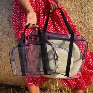 Набор прозрачных сумок с длинными ручками р009-р010-black (черная)