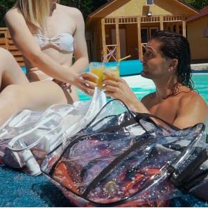 Прозрачная сумка с длинными ручками размер Л р010-black (черная)