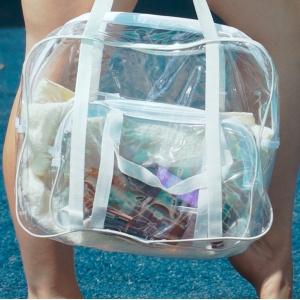 Прозрачная сумка с длинными ручками размер Л р010-white (белая)