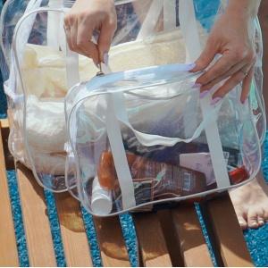 Прозрачная сумка с длинными ручками размер М р009-white (белая)
