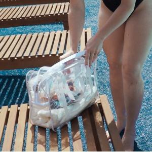 Набор прозрачных сумок с длинными ручками р009-р010-white (белая)