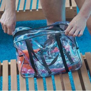 Прозрачная сумка с длинными ручками размер М р009-black (черная)