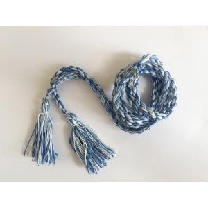 Пояс плетеный белый с голубым