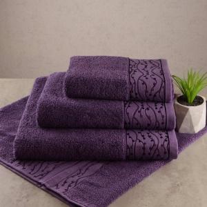 Набор махровых полотенец 3шт GM Textile 40x70см, 50x90см, 70x140см Grek 450г/м2 (Фиолетовый)