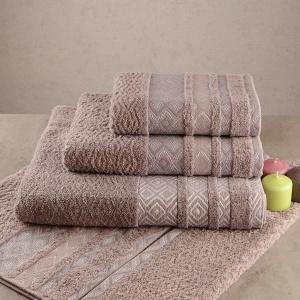 Набор махровых полотенец 3шт GM Textile 40x70см, 50x90см, 70x140см Grek 450г/м2 (Пепельный)