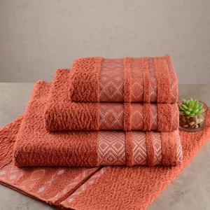 Набор махровых полотенец 3шт GM Textile 40x70см, 50x90см, 70x140см Grek 450г/м2 (Терракотовый)