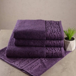 Набор махровых полотенец 3шт GM Textile 50х90см, 50х90см, 70х140см Grek 450г/м2 (Фиолетовый)