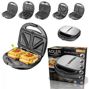 Мультимейкер 5 в 1 Adler AD 3040 (сендвичница - вафельница - гриль - тостница - орешница)