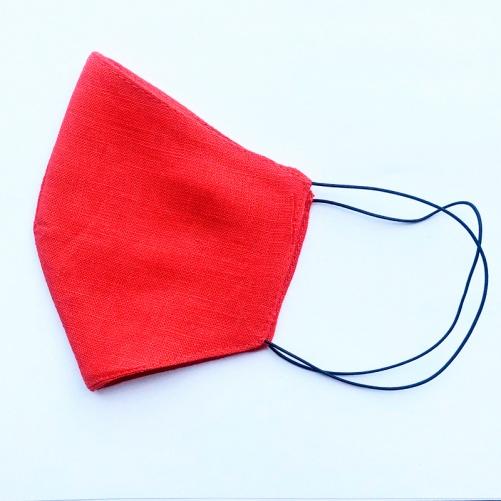 Маска защитная многоразовая из 100% ЛЬНА Размер M (Красный)