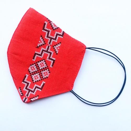 Маска защитная (многоразовая) из 100% ЛЬНА с Вышивкой Размер М Красный