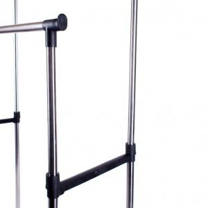 Телескопическая стойка вешалка для одежды двойная Double Pole Стальная V2554