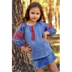 Детская блуза для девочки из льняной ткани с вышивкой