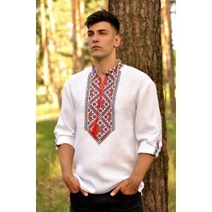 Мужская сорочка-вышиванка белая с традиционной красно-черной вышивкой