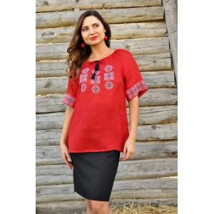 Вышитая женская блуза красная с коротким рукавом из тонкого льна